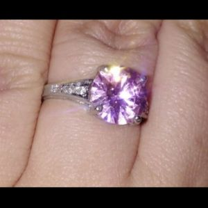 925 STERLING SILVER & PINK SAPPHIRE & DIAMOND RING